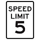 5 MPH Aluminum Traffic Speed Limit Sign, .080 Thick, 24 Inch x 18 Inch