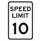 10 MPH Aluminum Traffic Speed Limit Sign, .063 Thick, 18 Inch x 12 Inch