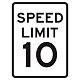 10 MPH Aluminum Traffic Speed Limit Sign, .080 Thick, 24 Inch x 18 Inch