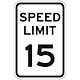 15 MPH Aluminum Traffic Speed Limit Sign, .063 Thick, 18 Inch x 12 Inch