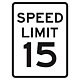 15 MPH Aluminum Traffic Speed Limit Sign, .080 Thick, 24 Inch x 18 Inch