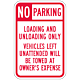 No Parking Load Zone Sign, 18 Inch x 12 Inch