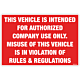 Authorized Company Use Decal
