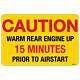 Caution Warm Rear Engine Decal