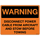 Warning Disconnect Power Cable Decal