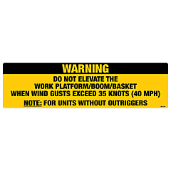 Warning Do Not Elevate Decal